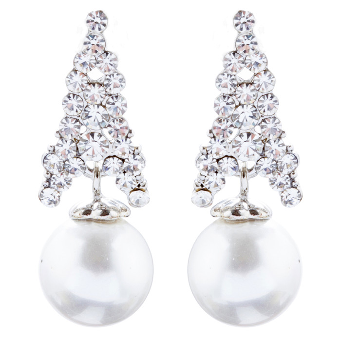 Bridal Wedding Jewelry Crystal Rhinestone Pearl Classic Earrings E1018 Silver