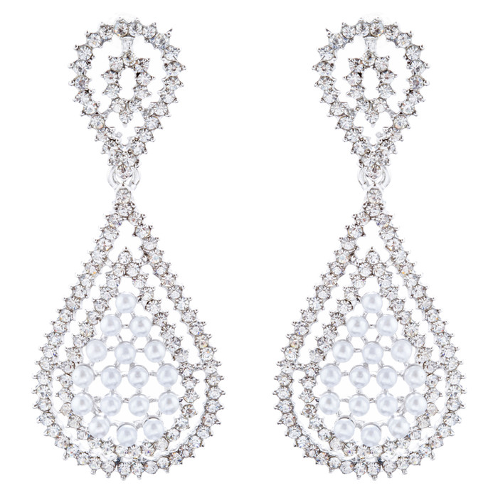 Bridal Wedding Jewelry Crystal Rhinestone Pearl Classic Dangle Earrings E1022 SV