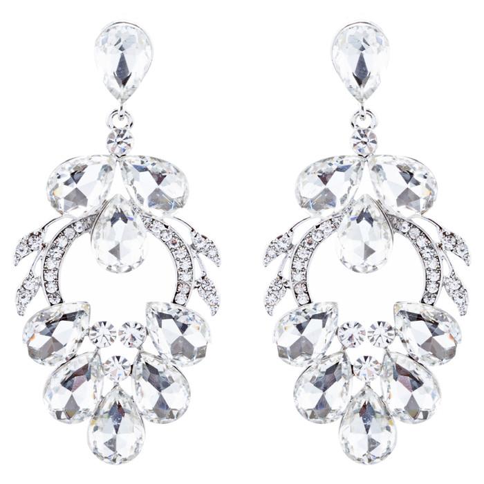 Bridal Wedding Jewelry Crystal Rhinestone Beautiful Design Earrings E1023 Silver