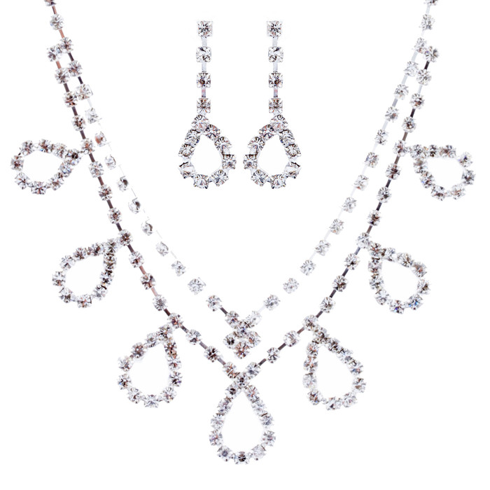 Bridal Wedding Jewelry Crystal Rhinestone Simple Design Necklace Set J715 Silver