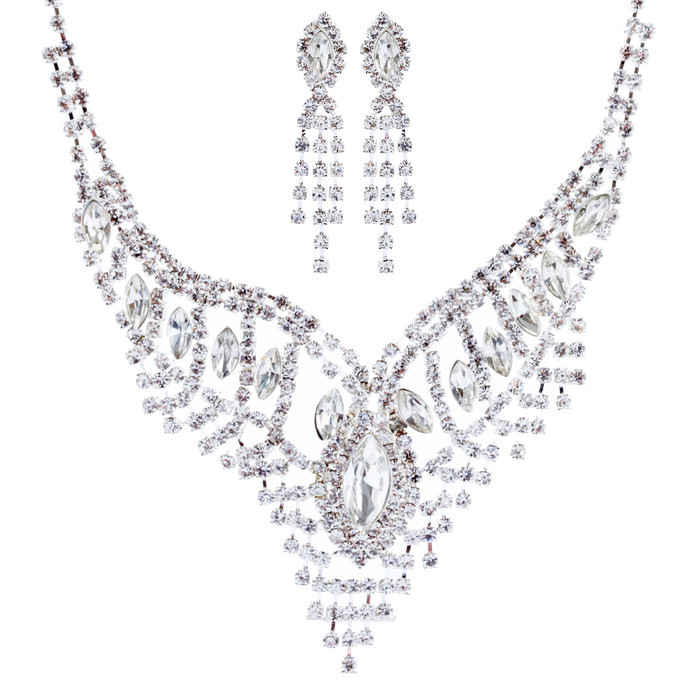 Bridal Wedding Jewelry Crystal Rhinestone Stunning Necklace Set J720 Silver