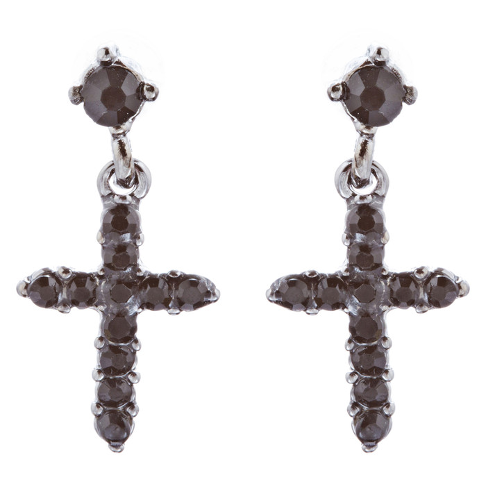 Charming Cross Crystal Rhinestone Dangle Fashion Earrings E1013 Black