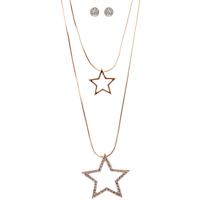Gorgeous Dazzle Crystal Rhinestone Multi Strands Star Necklace Set JN278 Gold