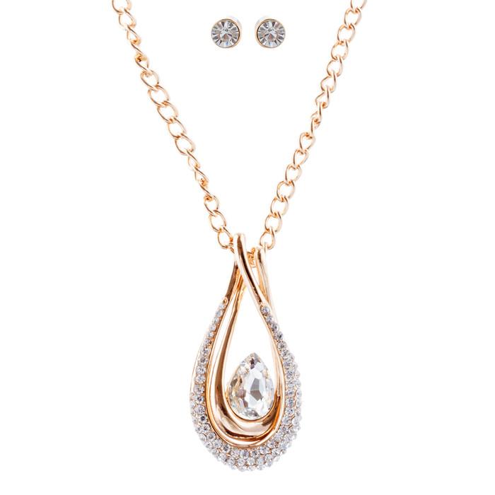 Beautiful Crystal Rhinestone Pendant Necklace Earrings Set JN279 Gold