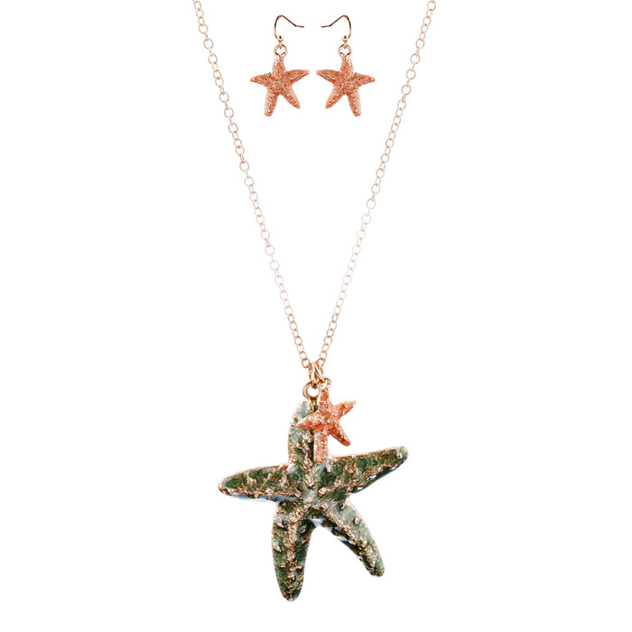 Fun Ocean Inspired Sea Star Pendant Necklace Earrings Set JN282 Gold Green
