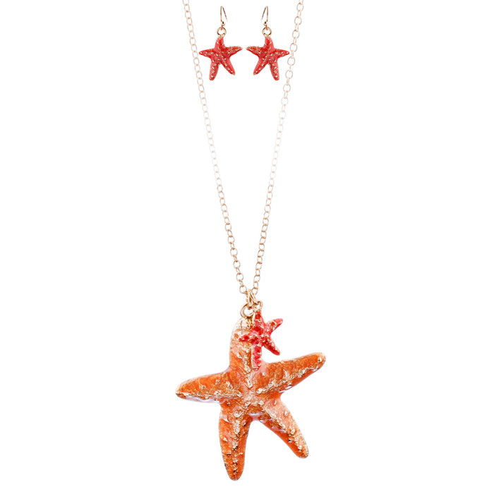 Fun Ocean Inspired Sea Star Pendant Necklace Earrings Set JN282 Gold Orange