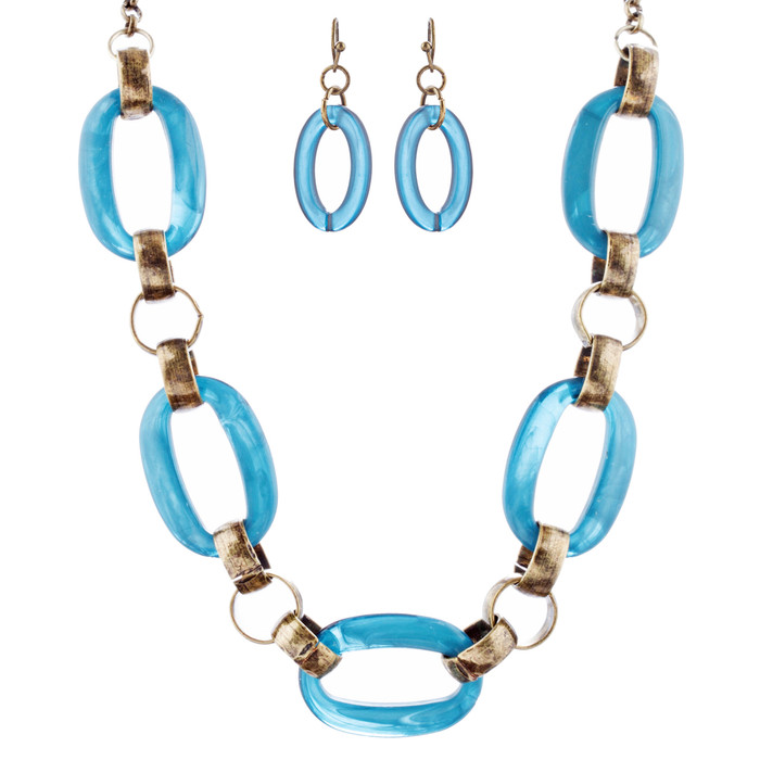 Fashion Links Pattern Design Statement Necklace Earrings Set JN283 Blue