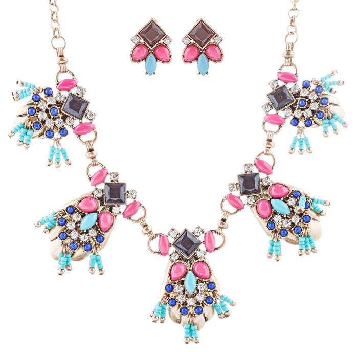 Striking Design Crystal Rhinestone Beads Statement Necklace Set JN285 Multi