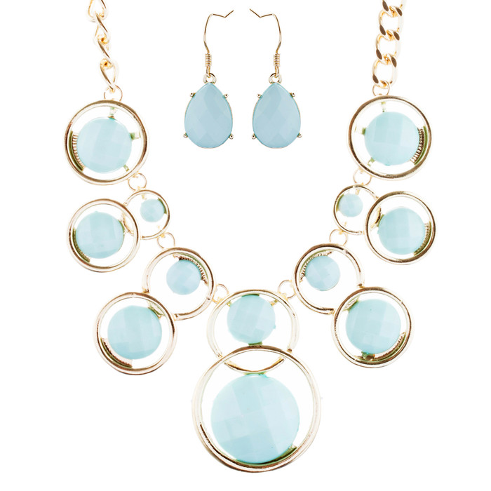 Striking Chic Trendy Fashion Statement Necklace Jewelry Set JN292 Gold Mint