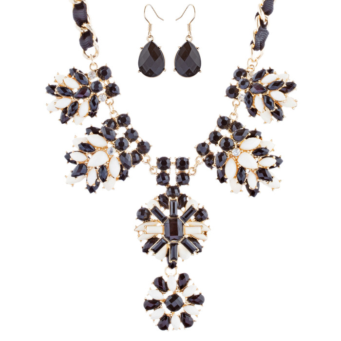 Beautiful Crystal Rhinestone Fashion Statement Necklace Set JN295 Gold Black