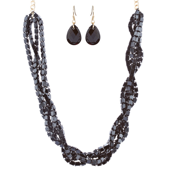 Gorgeous Multi Strands Layered Fashion Statement Necklace Set JN296 Gold Black