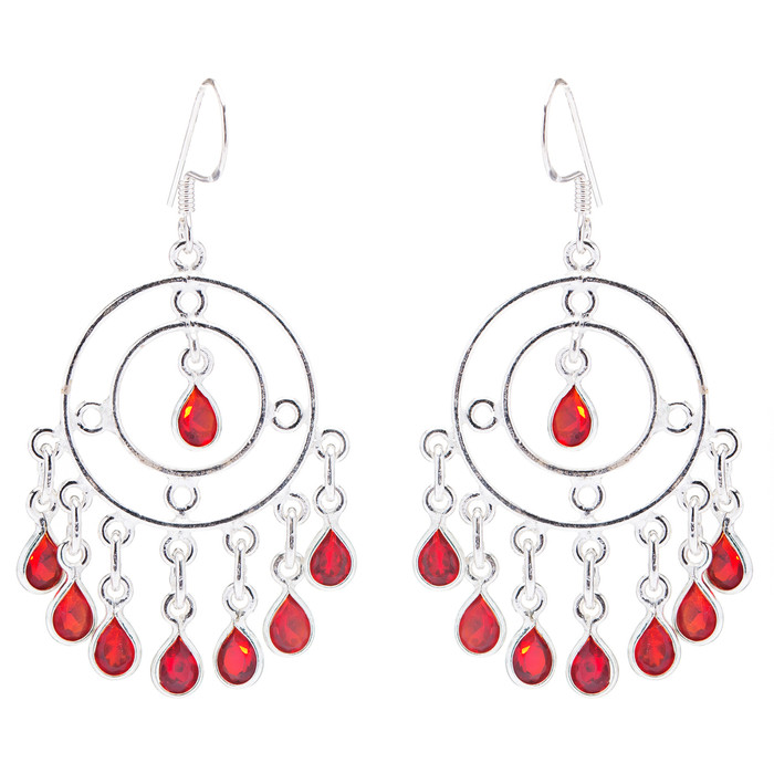 925 Sterling Silver Gemstones Red Quartz Dangle Earrings FJSE2128