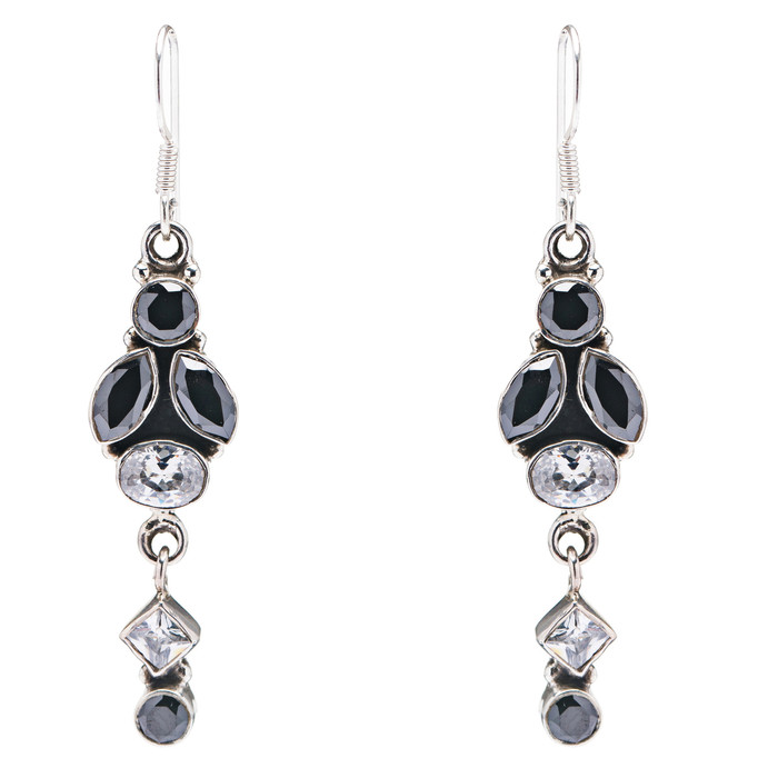 925 Sterling Silver Gemstones Natural Onyx Topaz Dangle Earrings FJSE2095