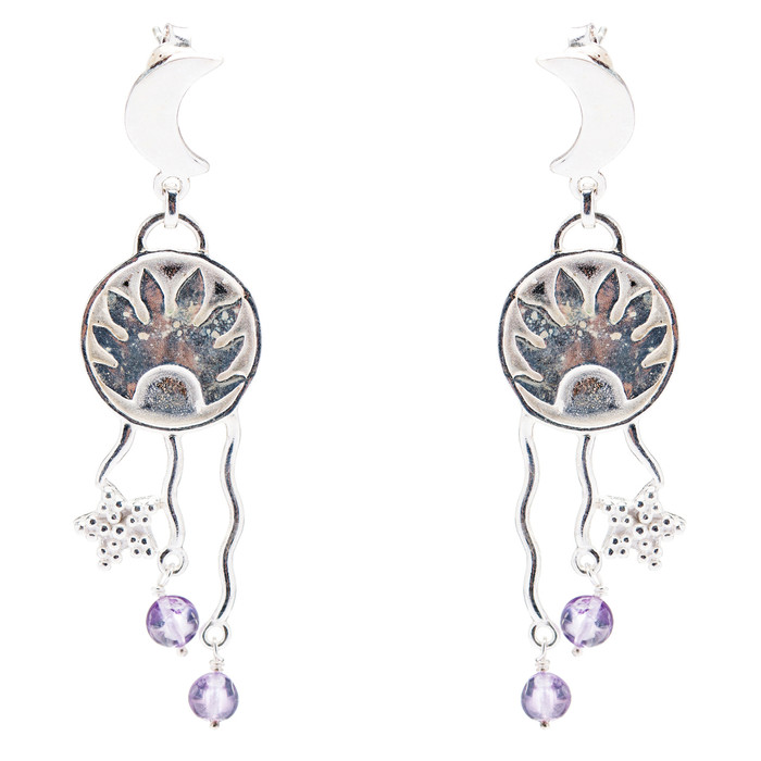 925 Sterling Silver Gemstones Natural Amethyst Dangle Earrings FJSE2139
