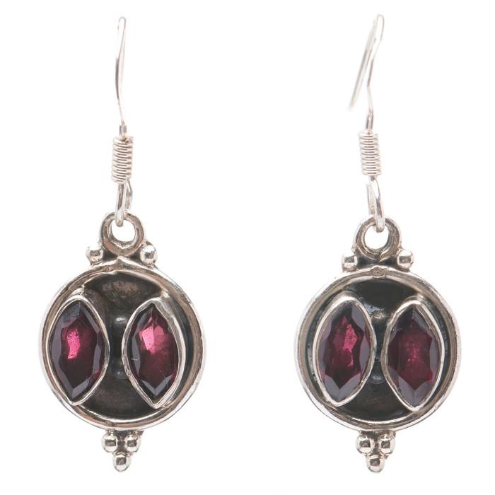 925 Sterling Silver Gemstones Natural Amethyst Dangle Earrings FJSE2164