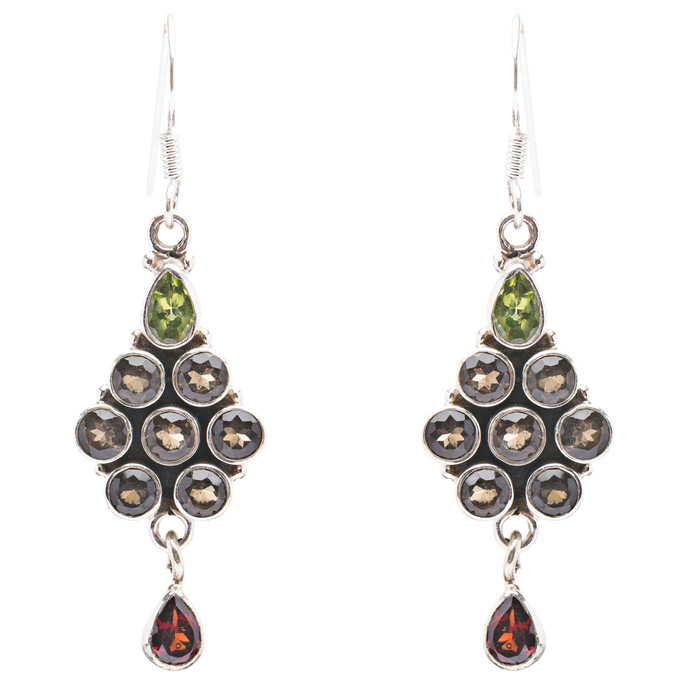 925 Sterling Silver Gemstones Natural Garnet Topaz Dangle Earrings FJSE2165