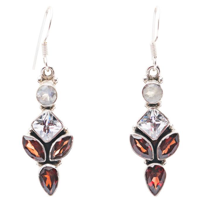 925 Sterling Silver Gemstones Natural Topaz Garnet Moonstone Earrings FJSE2171