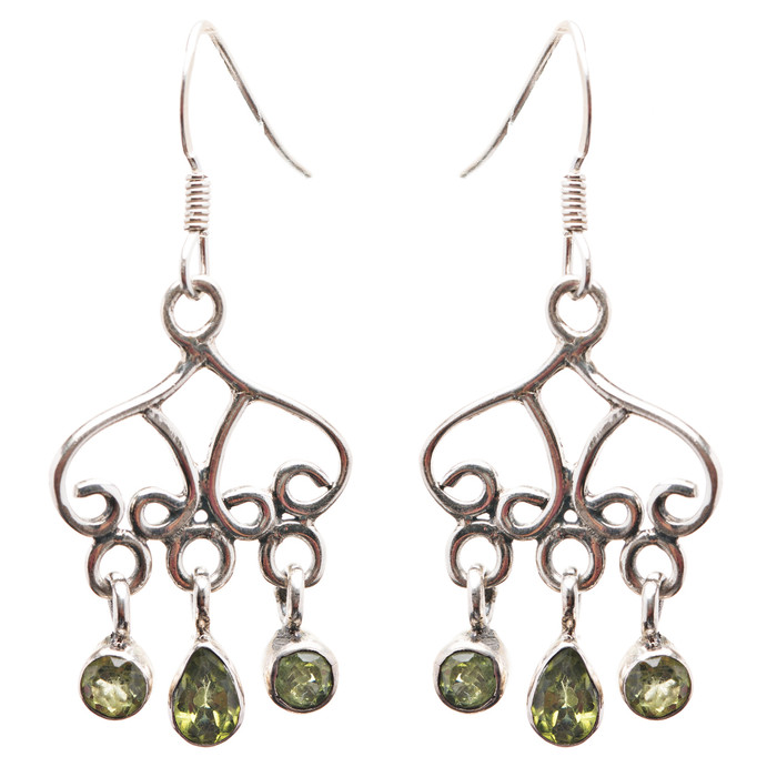 925 Sterling Silver Gemstones Natural Peridot Dangle Earrings FJSE2176