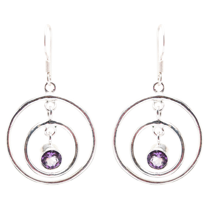 925 Sterling Silver Gemstones Natural Amethyst Dangle Earrings FJSE2177