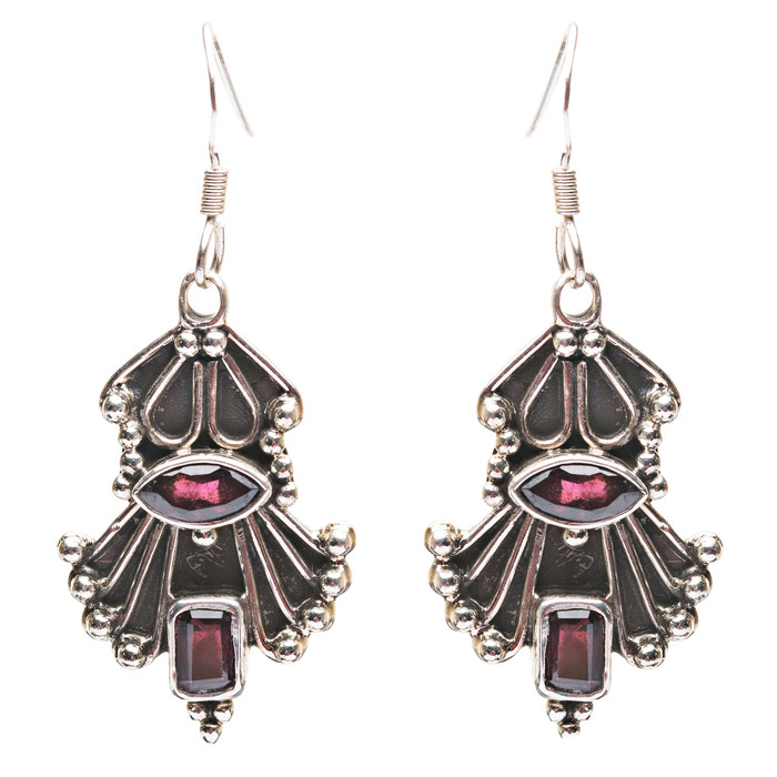 925 Sterling Silver Gemstones Natural Red Garnet Dangle Earrings FJSE2181