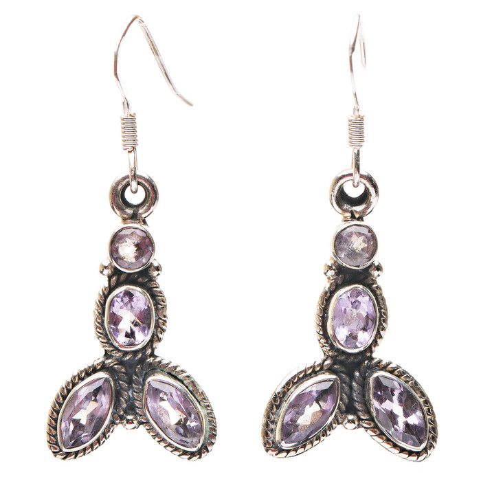 925 Sterling Silver Gemstones Natural Amethyst Dangle Earrings FJSE2182
