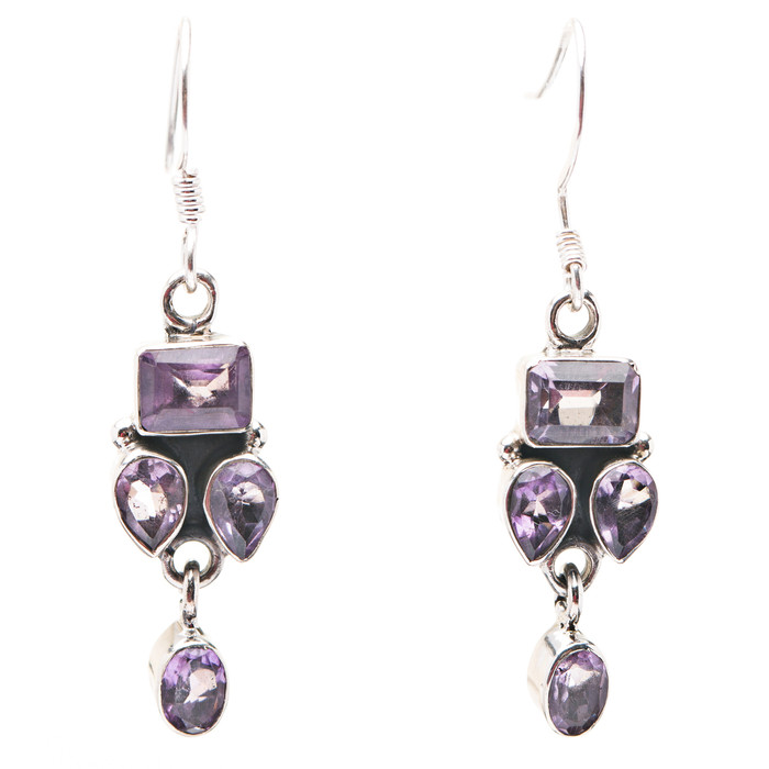 925 Sterling Silver Gemstones Natural Amethyst Dangle Earrings FJSE2184