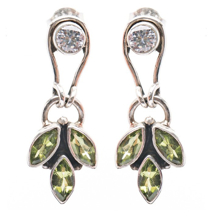 925 Sterling Silver Gemstones Natural Peridot Topaz Dangle Earrings FJSE2191