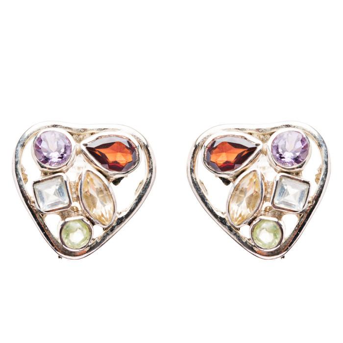 925 Sterling Silver Gemstones Natural Topaz Garnet Dangle Earrings FJSE2195