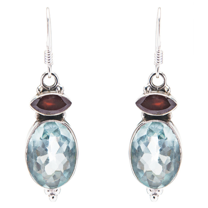 925 Sterling Silver Natural Gemstones Quartz Dangle Earrings FJSVE2097
