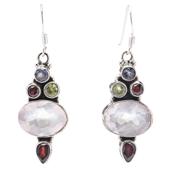925 Sterling Silver Natural Gemstones Topaz Dangle Earrings FJSVE2103