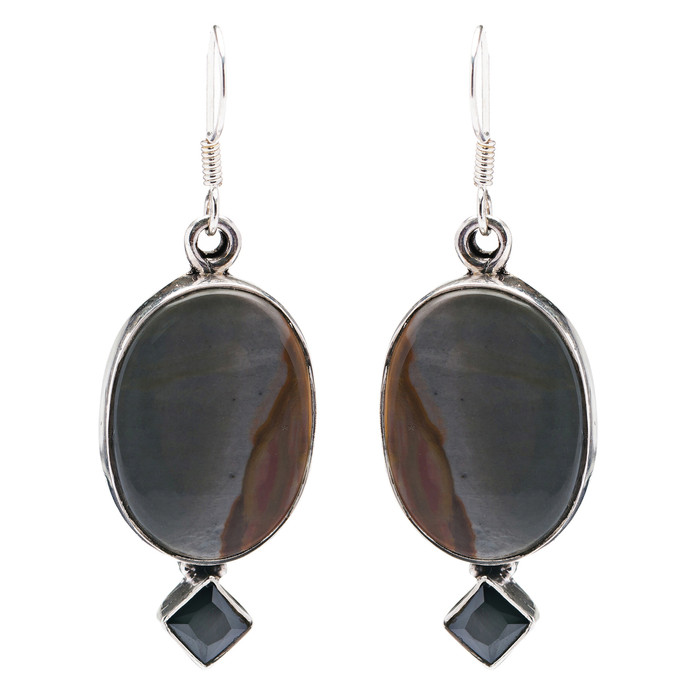 925 Sterling Silver Natural Gemstones Agate Dangle Earrings FJSVE2106