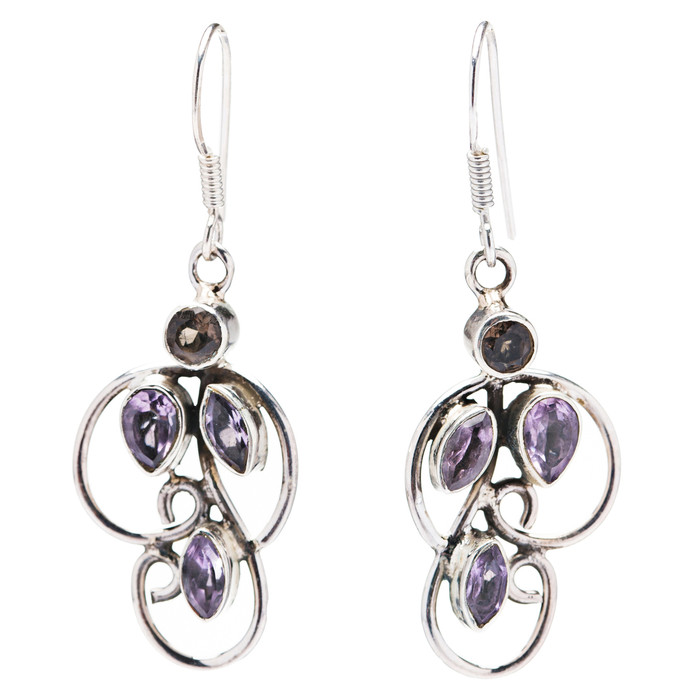 925 Sterling Silver Natural Gemstones Topaz Dangle Earrings FJSVE2113