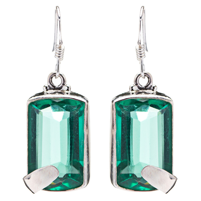 925 Sterling Silver Natural Gemstones Quartz Dangle Earrings FJSVE2127