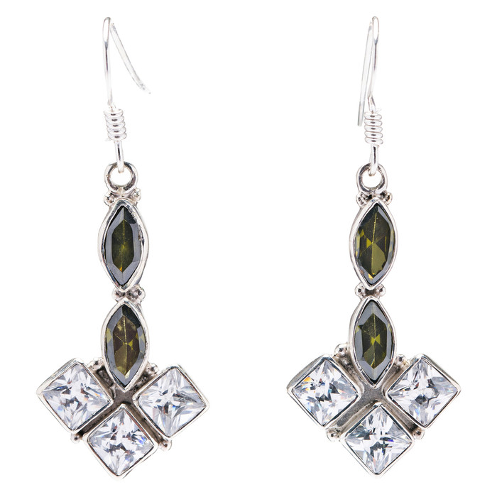 925 Sterling Silver Natural Gemstones Topaz Dangle Earrings FJSVE2142
