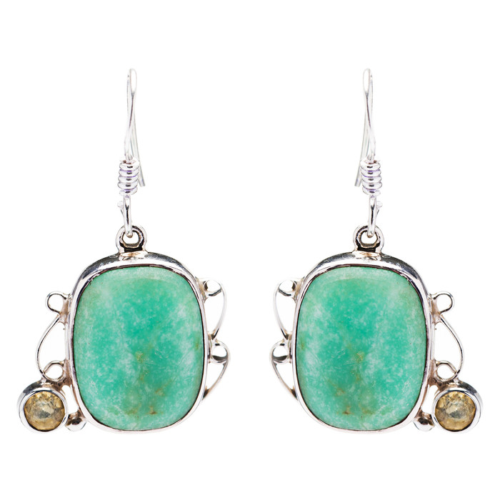 925 Sterling Silver Natural Gemstones Jade Dangle Earrings FJSVE2143