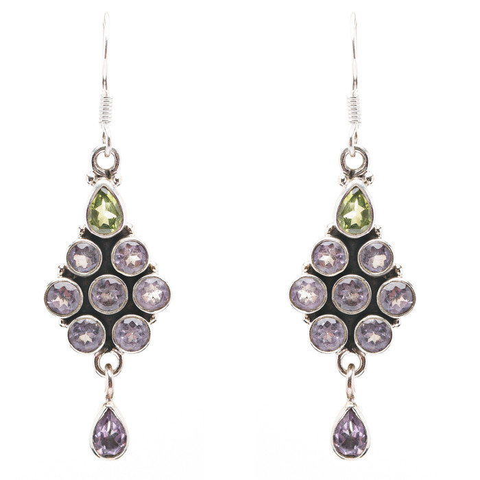 925 Sterling Silver Natural Gemstones Amethyst Periodot Dangle Earring FJSVE2152