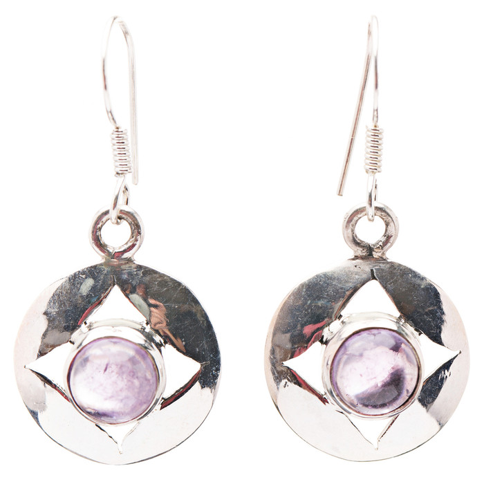 925 Sterling Silver Natural Gemstones Amethyst Dangle Earrings FJSVE2153