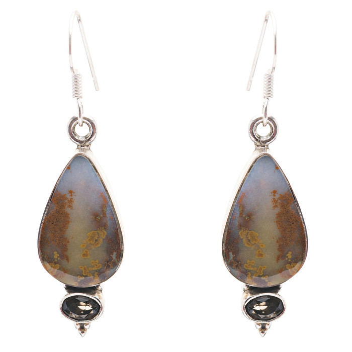 925 Sterling Silver Natural Gemstones Jasper Dangle Earrings FJSVE2155