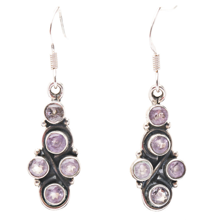 925 Sterling Silver Natural Gemstones Amethyst Dangle Earrings FJSVE2161
