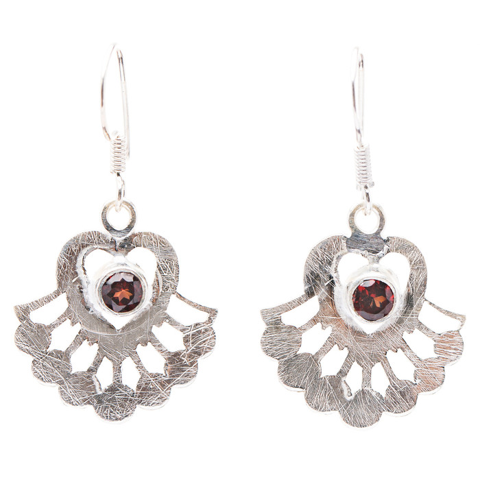 925 Sterling Silver Natural Gemstones Garnet Dangle Earrings FJSVE2169
