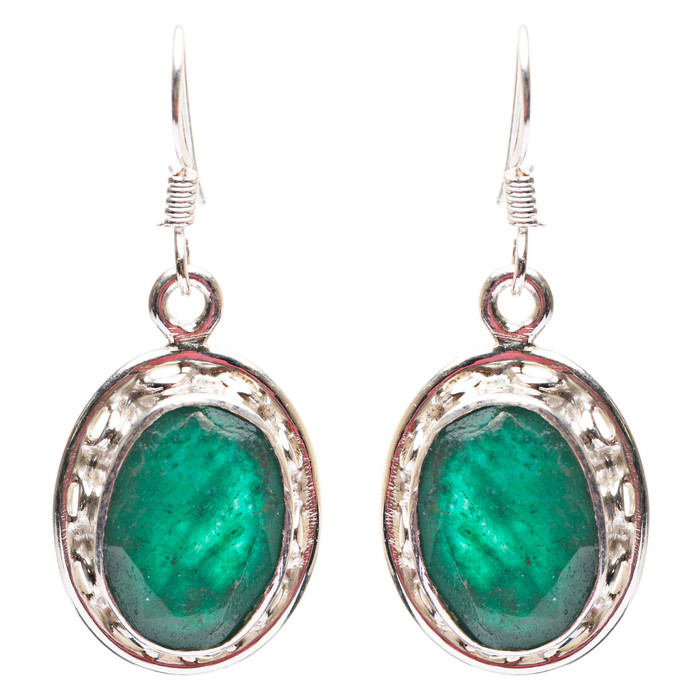 925 Sterling Silver Natural Gemstones Emerald Dangle Earrings FJSVE2172
