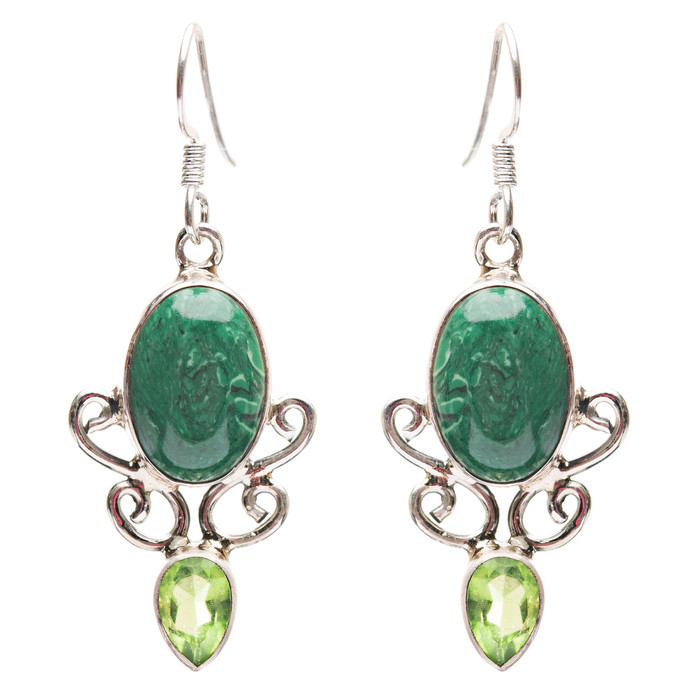 925 Sterling Silver Natural Gemstones Malachite Dangle Earrings FJSVE2187