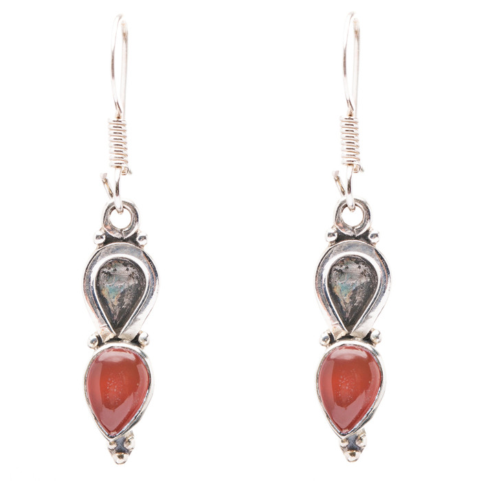 925 Sterling Silver Natural Gemstones Carnelian Dangle Earrings FJSVE2194
