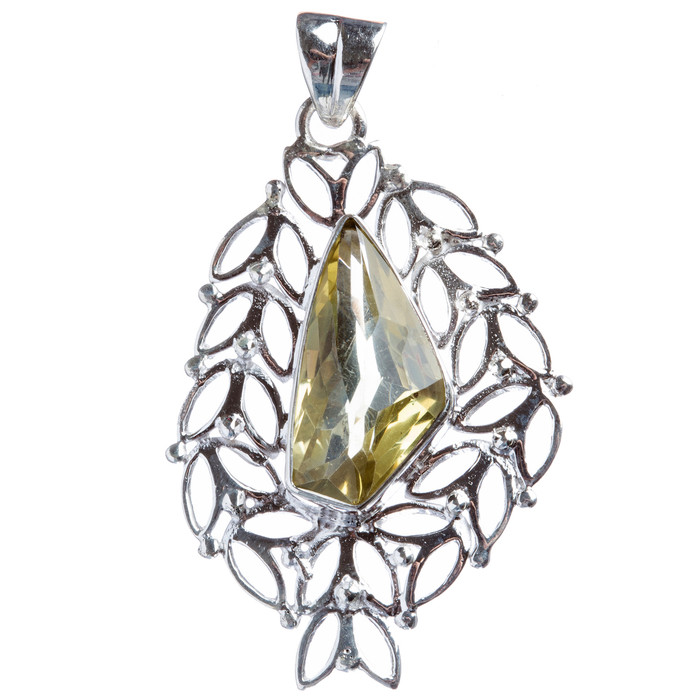 925 Sterling Silver Natural Gemstones Citrine Pendant FJSVP2037