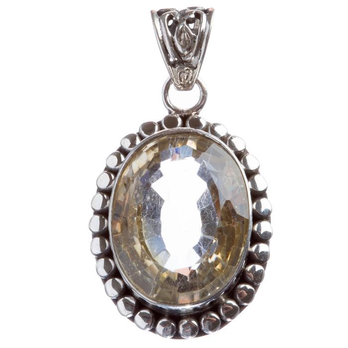 925 Sterling Silver Natural Gemstones Quartz Pendant FJSVP2039