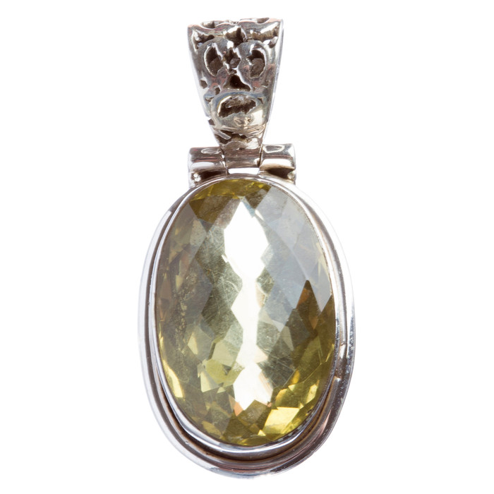 925 Sterling Silver Natural Gemstones Citrine Pendant FJSVP2066