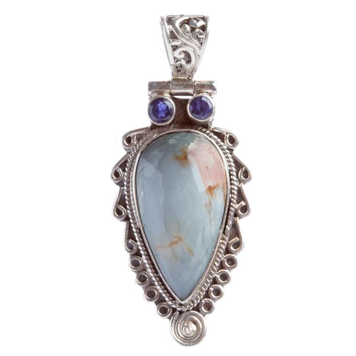 925 Sterling Silver Natural Gemstones Labradorite Pendant FJSVP2074