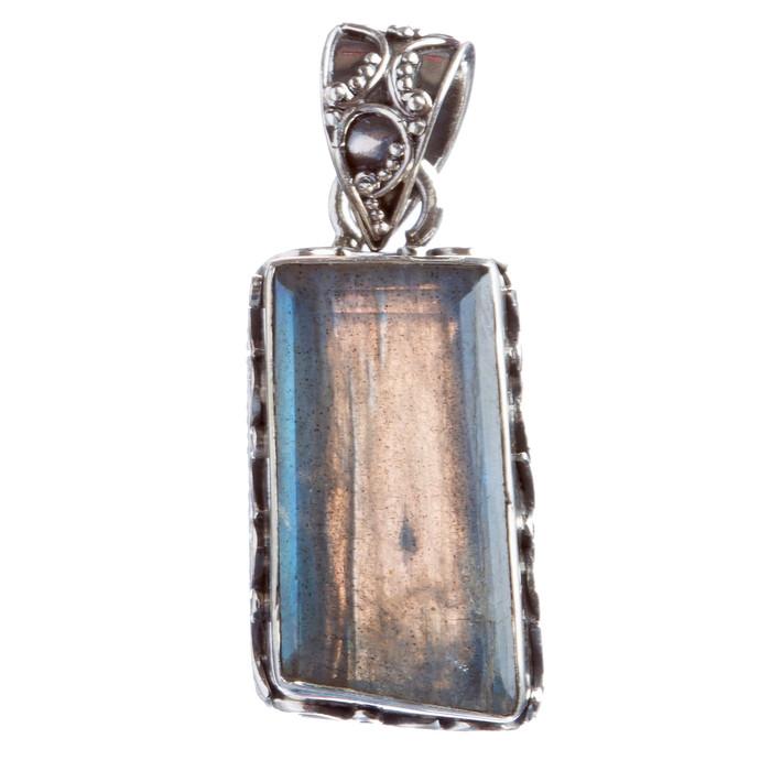 925 Sterling Silver Natural Gemstones Labradorite Pendant FJSVP2086