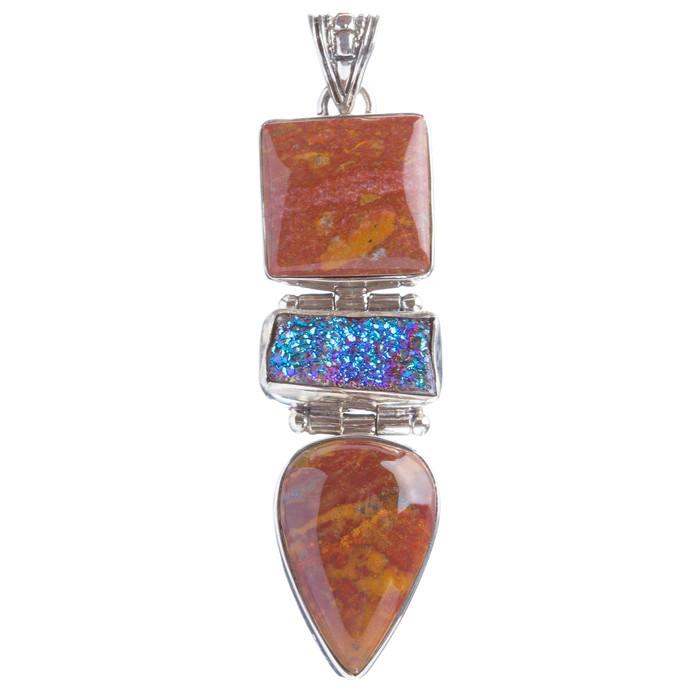 925 Sterling Silver Natural Gemstones Rainbow Druzy Jasper Pendant FJSVP2098