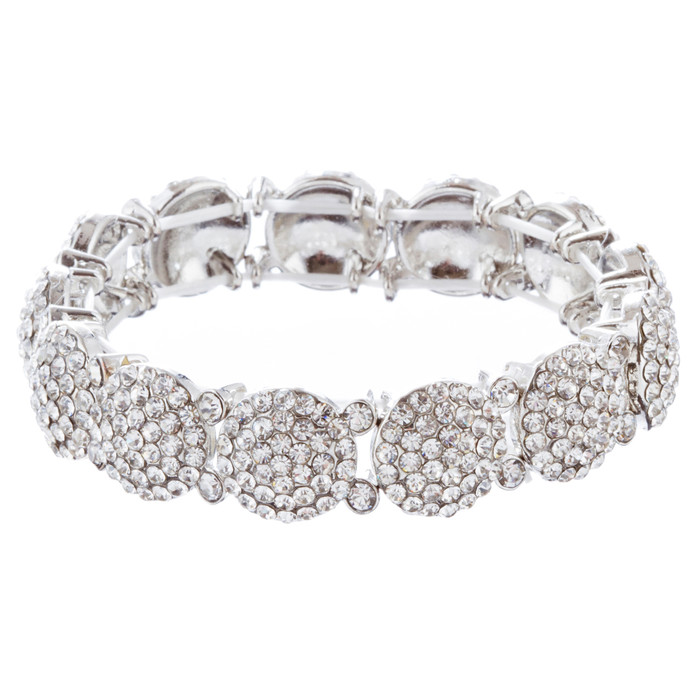 Bridal Wedding Jewelry Crystal Rhinestone Gorgeous Stretch Bracelet B527 Silver